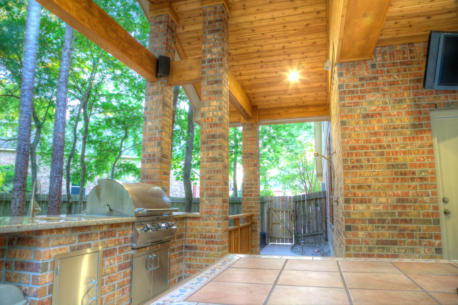 Brick Outdoor Kitchen With Stainless