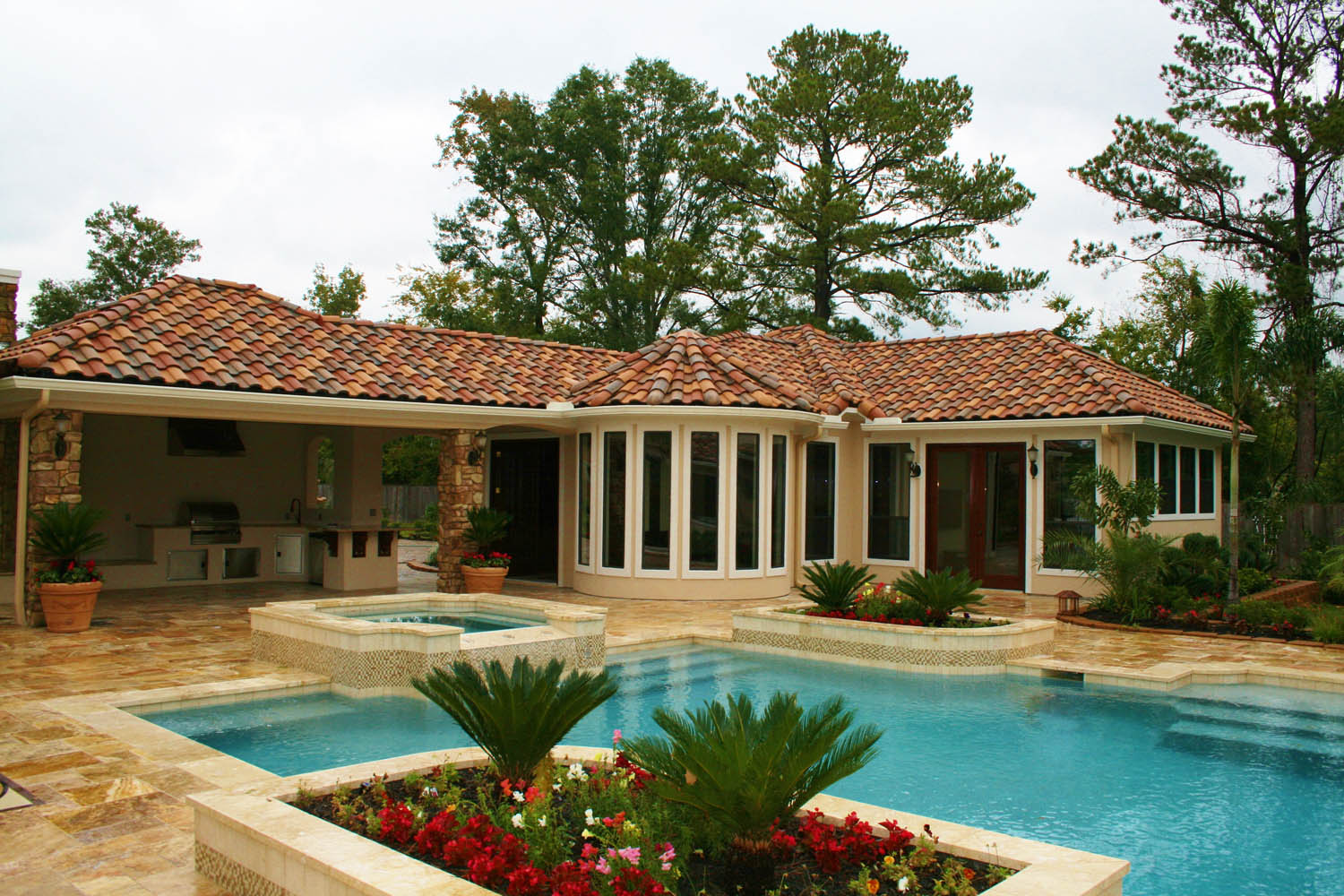 Mediterranean Style Pool And Spa Surrounded By Small