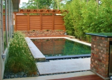 Modern-swimming-pool-surrounded-by-bamboo-and-mexican-beach-pebbles-with-small-arbor-and-louvered-wall